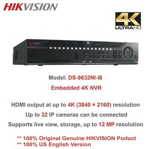 Details about Hikvision DS-9632NI-I8 32 Channel 4K Embedded NVR- 12MP Video  Recording Res