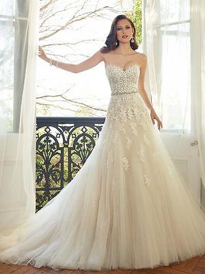UK White//ivory//Champagne Beading Bodice Wedding Dress Bridal Gown  Size 6-22