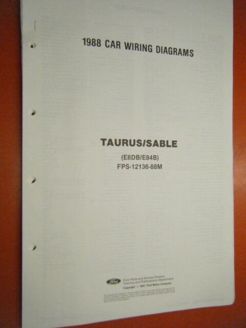 1988 Ford Taurus Mercury Sable Factory Wiring Diagram