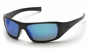 PYRAMEX-GOLIATH-SAFETY-GLASSES-BLACK-FRAME-WITH-ICE-BLUE-MIRROR-LENS-SB5665D
