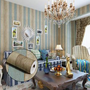 Home Cal Waterproof Self-Adhesive PVC Paper Wallpaper,Antique Stripe,1.74ⅹ16.4ft