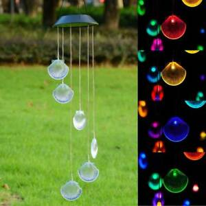 Solar-Color-Changing-LED-Shell-Wind-Chimes-Home-Garden-Yard-Decor-Light-Lamp-US