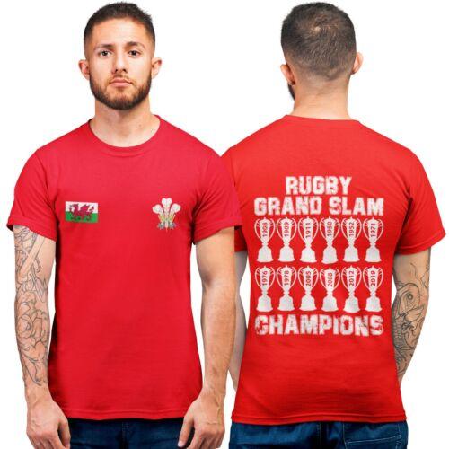 Wales Grand Slam 2019 Champions Rugby T Shirt Top Mens Boys Cymru Welsh T-Shirt