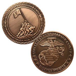 US Marine Corps Collectable Gold Challenge Coin Iwo Jima USMC Eagle Globe Anchor
