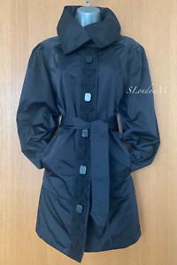 Karen-Millen-UK-12-Black-Classic-Elegant-Raincoat-Swing-Trench-Coat-Jacket-EU-40