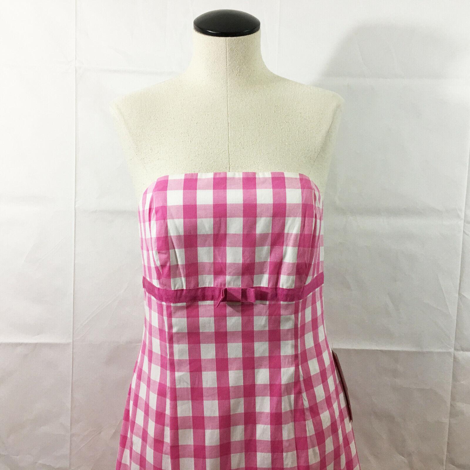 P4 Lilly Pulitzer Kelly Rosa Picnic Check Dress Sz 10 damen Strapless Plaid