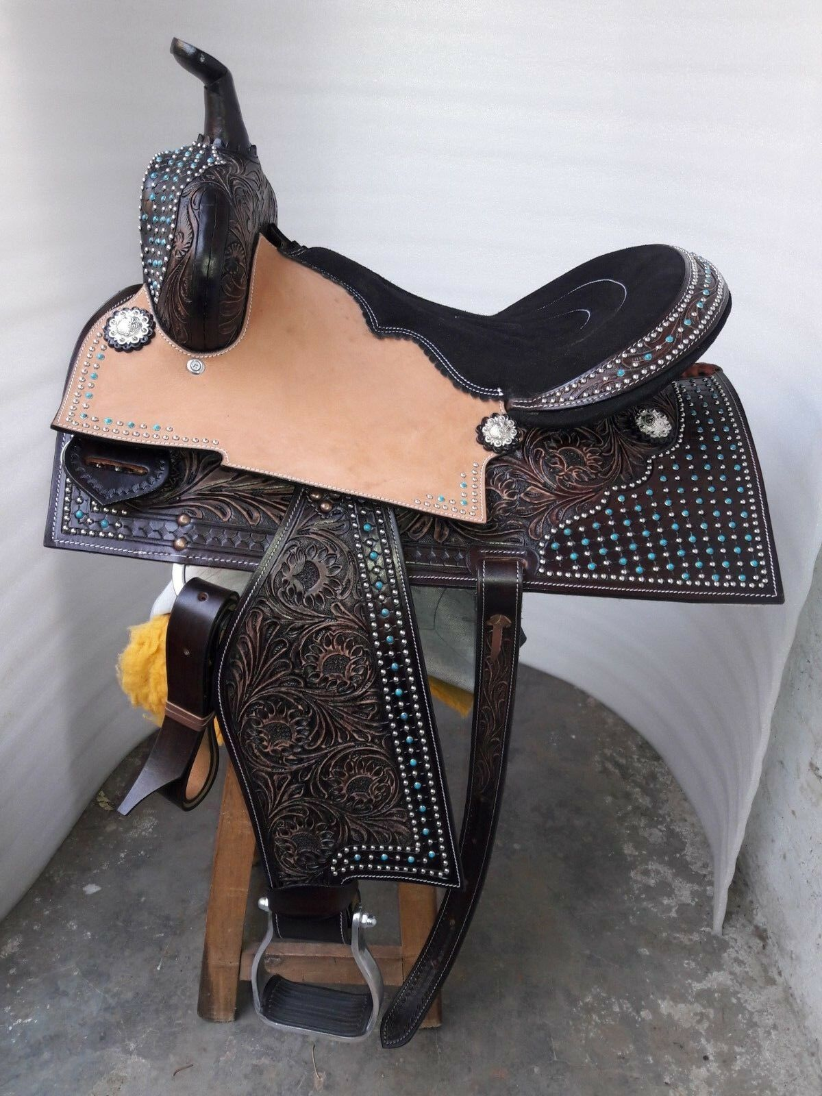 14'' western saddle barrel racing Style Saddle with head  stall & breast color  shop online today