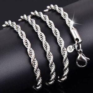 Silber-Versilbert-schmuck-wrest-Seil-chainmen-Frauen-Halskette-Mode-schoene-2-4mm