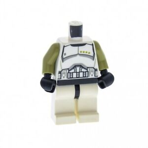 1x-Lego-Figur-Mann-SW-Torso-weiss-bedruckt-Arme-olivgruen-Beine-weiss-973pb1287c01