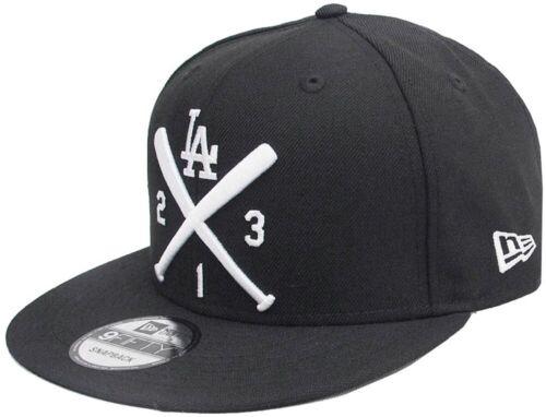 New Era LA Los Angeles Dodgers Crossed Bats 213 Black White Snapback Cap 9fifty