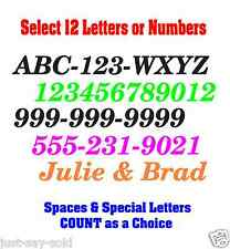 """Select 12 Numbers or Letters 2"""" Tall Custom- Vinyl Decal DIY Sign - Select Color"""