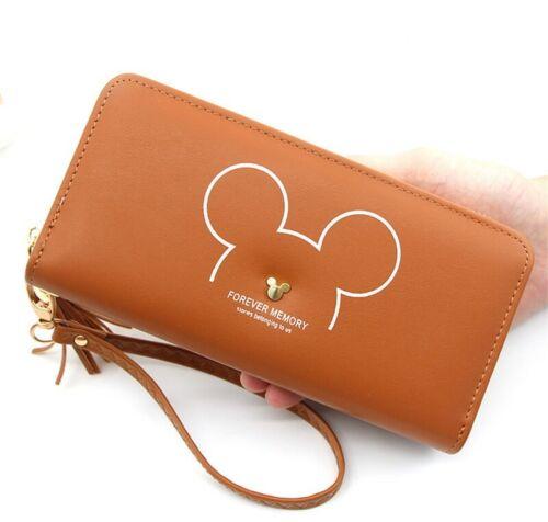 Tassel Long Women Clutch Wallet Cartoon Mickey Faux Leather Purse Card Holder
