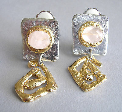 Unique Pink Square Earrings Semi Precious Stone Silver Handmade Clip-on New Gift