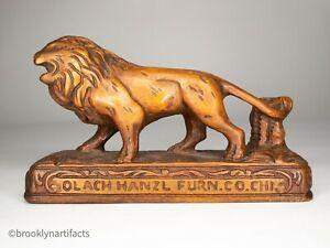 Antique Americana Folk Art Wood Carved Lion - Hanzl Furniture Advertising Sign