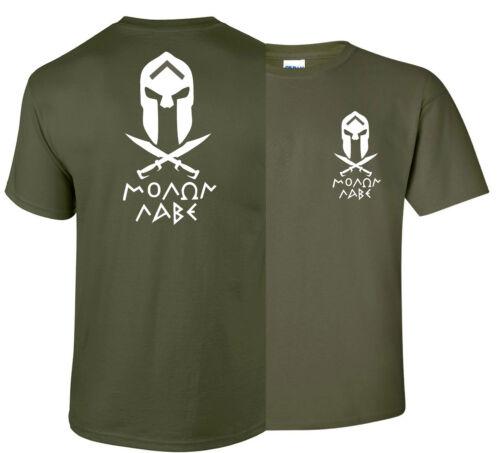 Molon Labe Spartan  Sword 2nd amendment  gun T shirt  print both sides