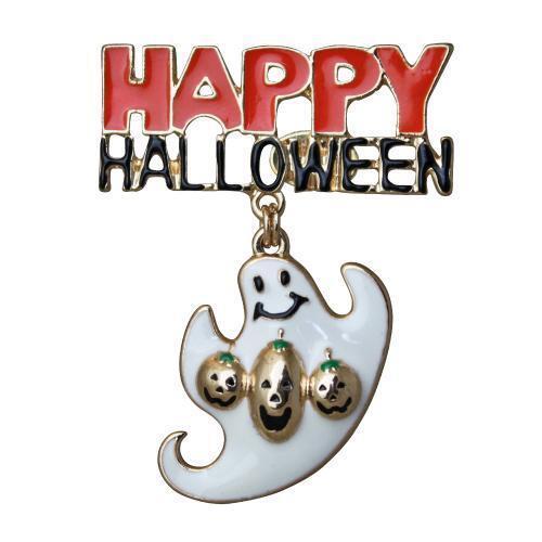 Kirks Folly Happy Halloween Ghost Pin Orange and White Enameling Black