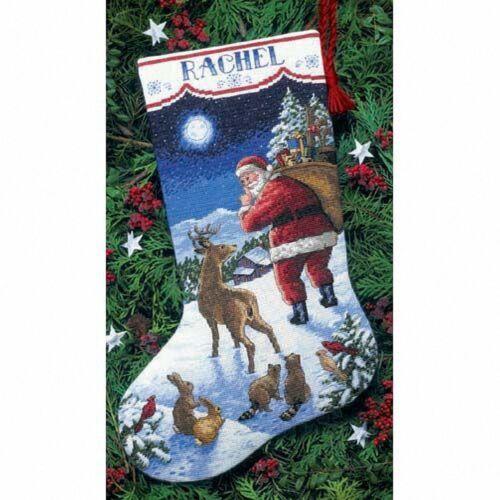 Dimensiones-puntada cruzada contada Kit-Stocking-la llegada de Santa-D08683