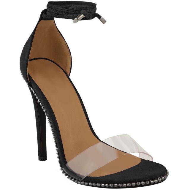 IKRUSH Womens Sasha Barely There Diamante Lace Up Heels