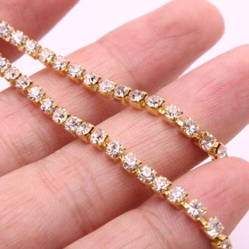 10 yardas Cristal Brillo Pedrería Cadena De Plata Y Oro Hágalo usted mismo accesorios de costura