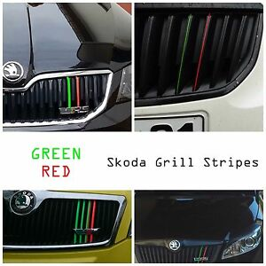 SKODA-Kidney-Grill-Tuning-Stripes-Stickers-Decals-Badge-Octavia-RS-Fabia-Superb