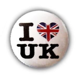 Badge I Love Uk British Drapeau Anglais Flag Gb London Rock Punk