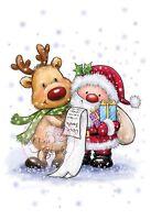 Christmas Santa And Reindeer Unmounted Rubber Stamp Wild Rose Studio Cl457