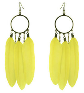 F3472-fashion-Yellow-Feather-circle-chain-dangle-chandelier-earrings-jewelry