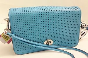 Image is loading NWT-COACH-Legacy-Perforated-Leather-Penelope-Shoulder -Robin- 8db46a6b10c86