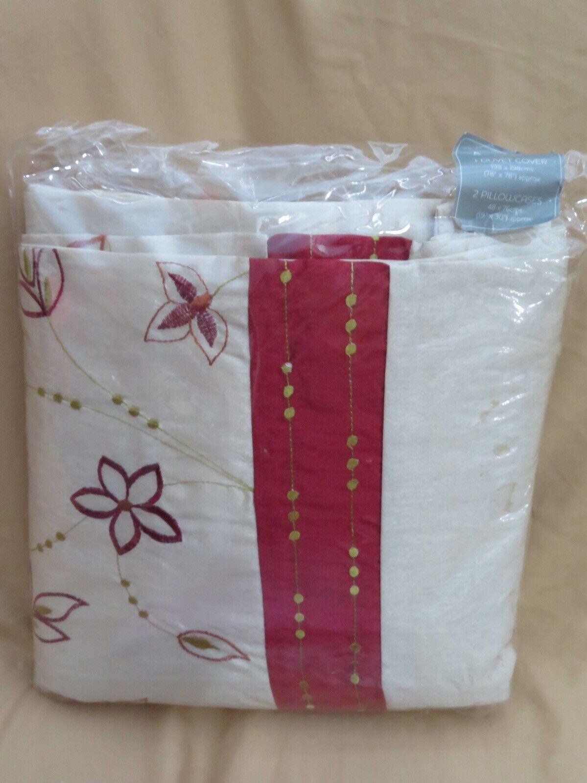 New Dreams N Drapes Full   Double Duvet Cover + 2 Standard Pillow Cases Tan Red