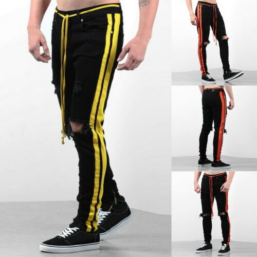 New Men/'s Fashion Ripped Jeans Skinny Stretchy Side Color Ribbon Pants Hot