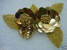 FW72-6 Gold Twin Tier Floral Flower Paillette Sequin Beaded Applique JEWELRY