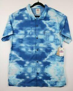 NWT-Levi-039-s-Mens-Size-2XL-Blue-Ronci-Tie-Dye-Short-Sleeve-Front-Button-Shirt