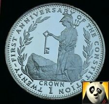 1990 SCARCE GIBRALTAR 1 One Crown  Anniversary of Constitution Silver Proof Coin