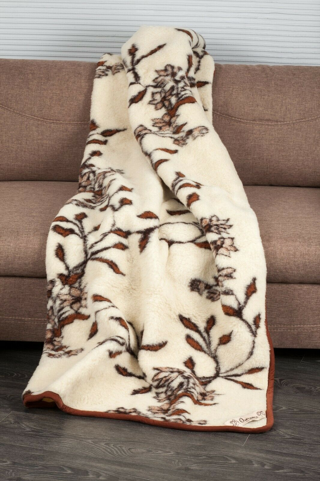 BLANKET 160X180cm DOUBLE LAYER BED FLORAL WOOL MERINO PURE WARM SOFT NATURAL