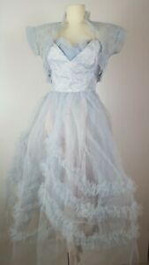 Vintage 50s Blue Net Tulle Full skirt TEA Dress PROM Party 8-10 S 1950s Wedding Deep cuffs Cocktail Cupcake