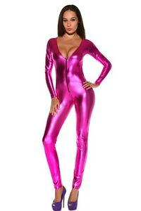 Gothic-Latex-Catsuit-Latex-Jumpsuit-Pink-Einheitsgroesse-S-M-NEU