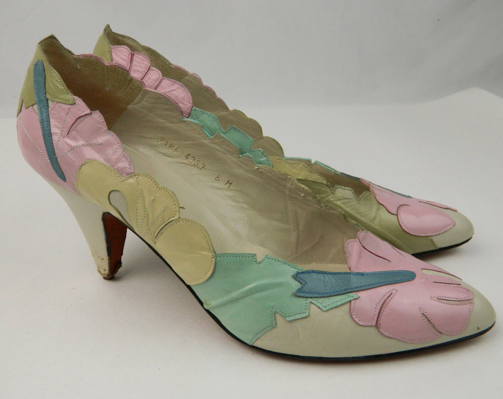 Paradox by Zalo Leather  Suede Heels Leaf Flowers Pattern Pastel colors Size 8 M