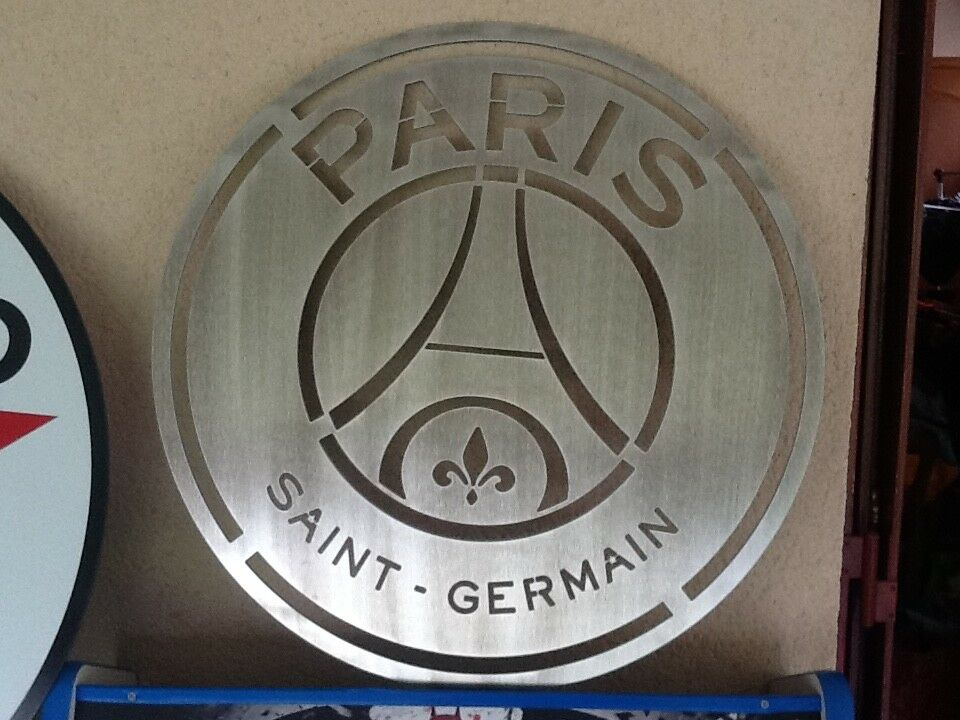 Plaque alu brossée logo PSG INTROUVABLE  diamètre 50 cm superbe