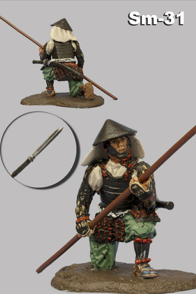Toy Tin Soldier Ashigaru with Yari Medieval Japan Painted 1 32 Figure 54mm