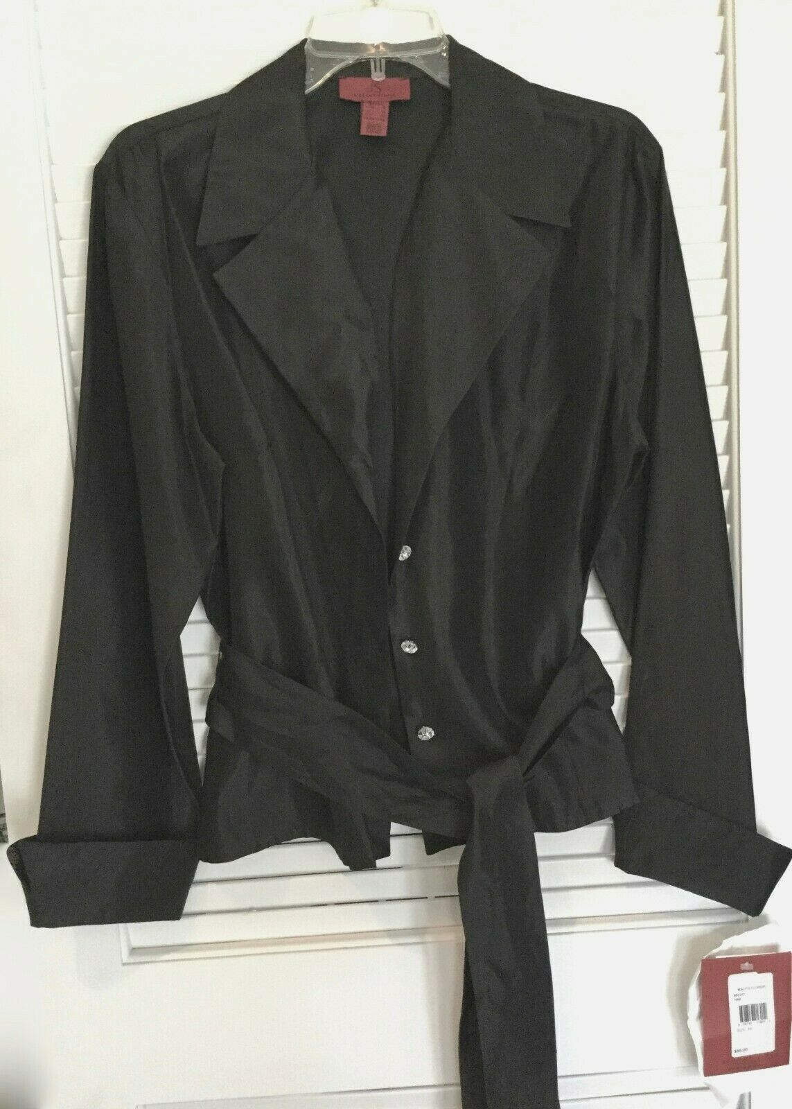 JS Collection Formal Black Top with Diamond Like Buttons - Sz 16 - Value NWT