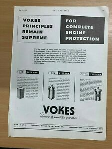 1954-Vokes-Limitee-Guildford-Surrey-Air-Huile-Essence-Filtres-Vintage-Annonce