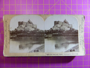 Antique-Stereoscope-Photograph-Rock-amp-Temple-Trichinopoly-S-India-Stereoview