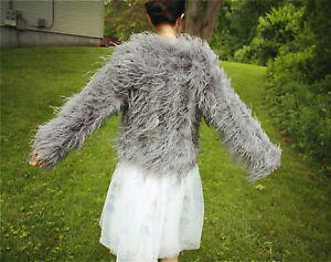 13ffb6470bc Ivory blush pink real Ostrich Feather Fur sleeve coat jacket bolero ...