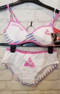 New Ladies Le Coq sportif white   pink bra   knickers set 32A 34 ... 0419ac3aa