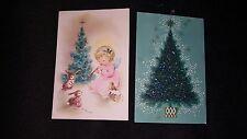 VINTAGE CHRISTMAS GREETING CARD UNUSED LUSTRE LANE HEAVY GLITTER TREE BABY ANGEL