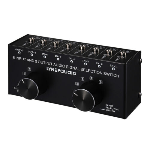 6 Eingang 2 Ausgang Stereo-Audiosignalauswahl Lautsprecher-Umschalter 3,5-mm