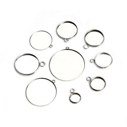 20pcs Stainless Steel Pendant Bases Trays Fit 10-18mm Cabochon DIY Findings
