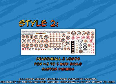 DragonBall Z custom made logo stickers for figures STYLE 2 Jakks Irwin size