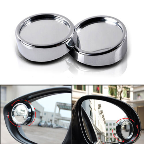 2pcs Chrome HD Side View Car Adjustable Blind Spot Wide Angle Rear Mirror #011