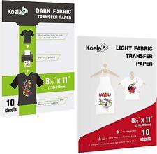 20 Koala Printable Htv Sheets Heat Transfer Paper For Dark Light T Shirt Iron On